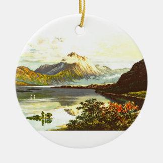 Vintage Loch Maree Painting Round Ceramic Decoration
