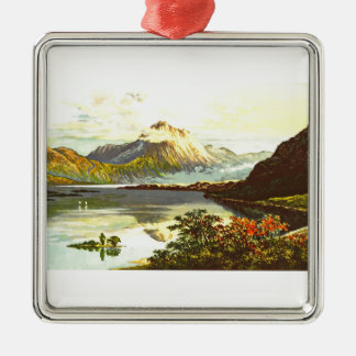 Vintage Loch Maree Painting Silver-Colored Square Decoration