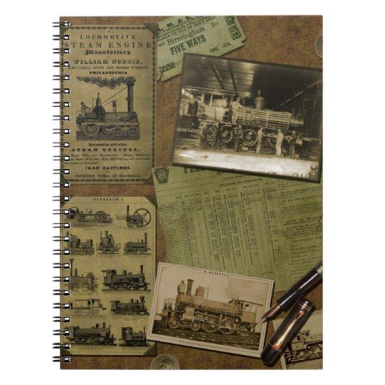 Vintage Locomotive Spiral Notebook - 80 pages