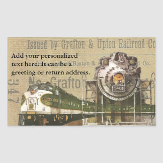 Vintage Locomotive Train Railroad Return Address Rectangular Sticker