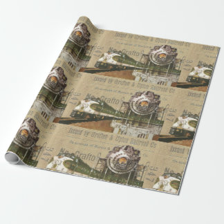 Vintage Locomotive Train Steam Engine Father's Day Wrapping Paper