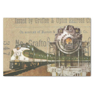 Vintage Locomotive Train Steam Engine Railroad Tissue Paper