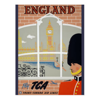 Vintage London Air Travel Big Ben Parliament Postcard