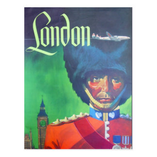 Vintage London Air Travel Big Ben Queen Guard Postcard