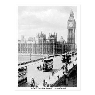 Vintage London, Big Ben, Westminster Bridge Postcard