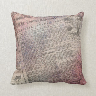 Vintage London Chronicle Newspaper Ads Cushion
