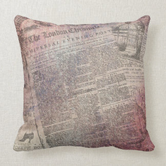 Vintage London Chronicle Newspaper Ads Throw Pillow