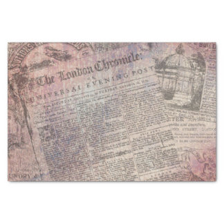 Vintage London Chronicle Newspaper Ads Tissue Paper