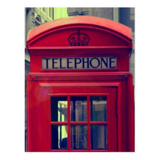 Vintage London City Red Public Telephone Booth Postcard
