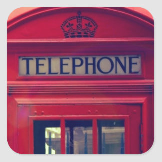 Vintage London City Red Public Telephone Booth Square Sticker