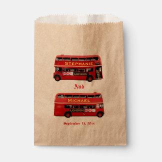 Vintage London Double Decker Bus Favour Bags