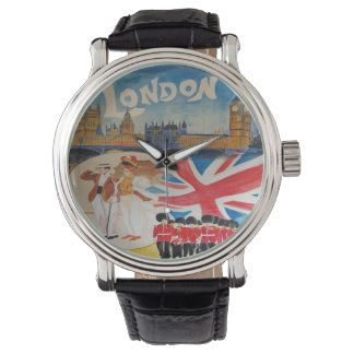 Vintage London England Travel Watercolor Art Wrist Watches
