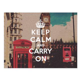 Vintage London Landmark Keep Calm And Carry On Postcard