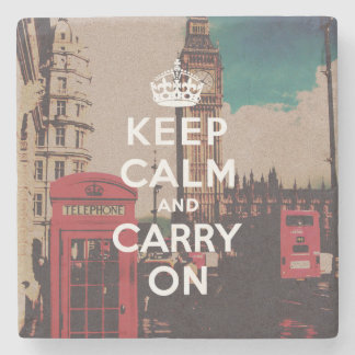 Vintage London Landmark Keep Calm And Carry On Stone Coaster