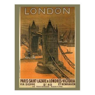 Vintage London Paris Railroad Travel Advertisement Postcard