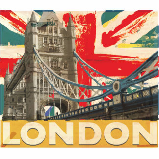 Vintage London Poster Standing Photo Sculpture