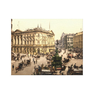 Vintage London print, Piccadilly Circus c1905 Gallery Wrapped Canvas