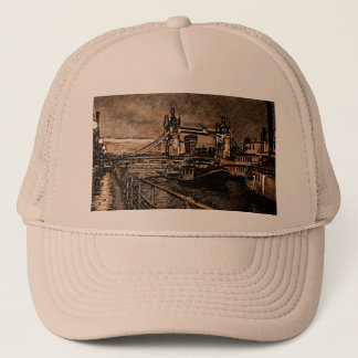Vintage London Tower Bridge In Rainy Day Drawing Trucker Hat