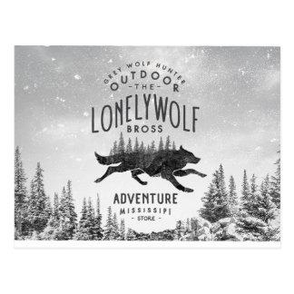 Vintage Lonely Wolf Adventure Mississipi Travel Postcard