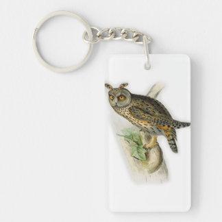 Vintage long eared owl asio otus Single-Sided rectangular acrylic key ring