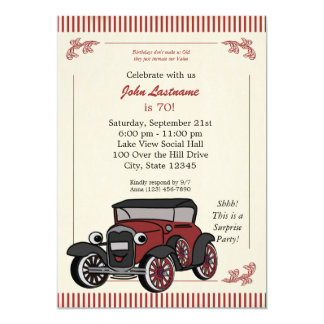 Vintage Look Antique Car Birthday Invite