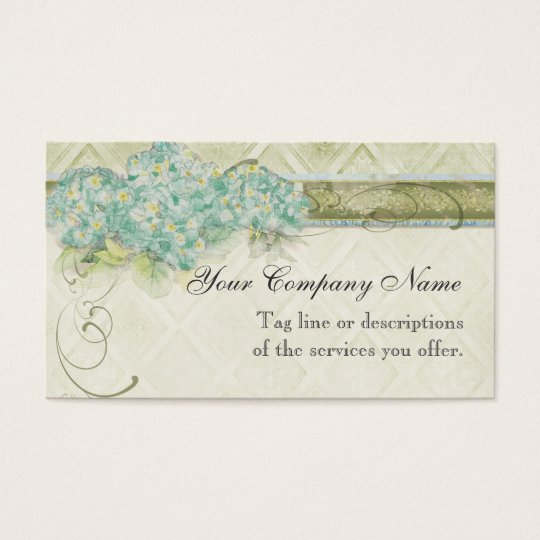 Vintage Look Aqua Hydrangea -  Business Cards