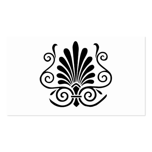 Vintage look art deco plume pattern black on white business card templates