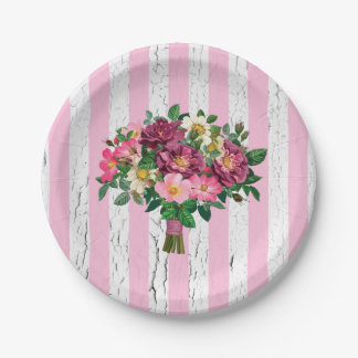 Vintage Look Bouquet Wild Roses Weathered 7 Inch Paper Plate