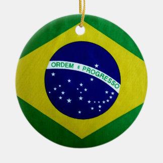 Vintage look Brazilian Flag Christmas Ornament