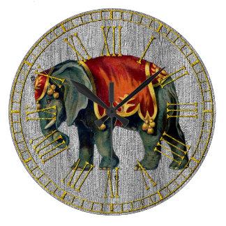 Vintage Look Circus Elephant Large Clock