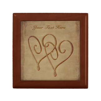 Vintage Look Entwined Hearts Jewelry Box