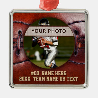 Vintage look Football Ornaments, Your Photo, Text Christmas Ornament