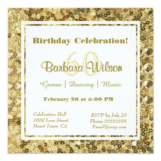 Vintage Look Gold Glitter and Sequins 13 Cm X 13 Cm Square Invitation Card