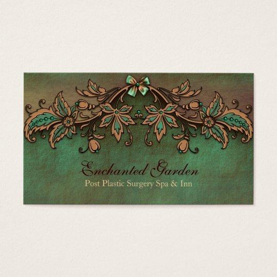 Vintage Look Green and Brown Custom Business Card