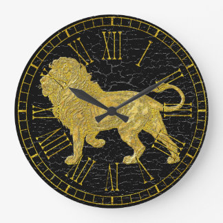 Vintage Look Lion Large Clock