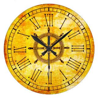 Vintage Look Nautical Ships Wheel Roman Numeral Clocks