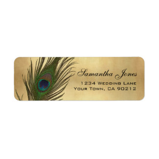 Vintage Look Peacock Feather Custom Address