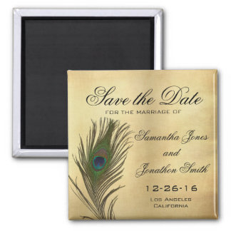 Vintage Look Peacock Feather Elegant Save the Date Square Magnet