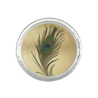 Vintage Look Peacock Feather on Gold