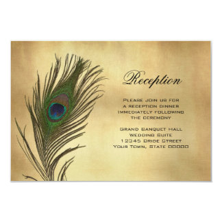Vintage Look Peacock Feather Reception Info Card 9 Cm X 13 Cm Invitation Card