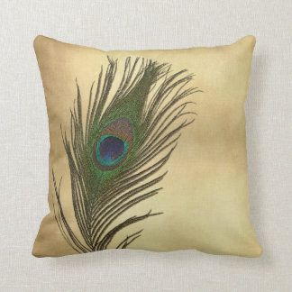 Vintage Look Peacock Feathers Elegant Cushion