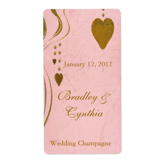 Vintage Look Pink and Gold Wedding Wine Labels