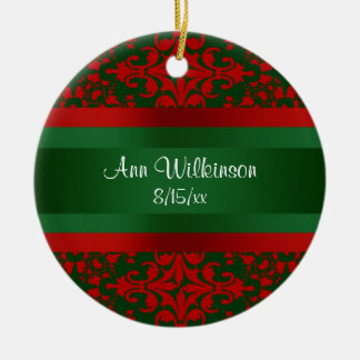 Vintage Look Red & Green Damask #2 Christmas Ornament