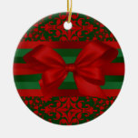 Vintage Look Red & Green Damask #2 With Bow Christmas Ornament
