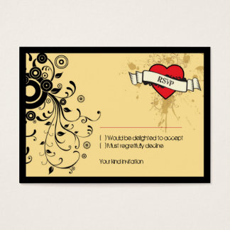 Vintage Look Rock & Roll Music Themed Wedding Business Card