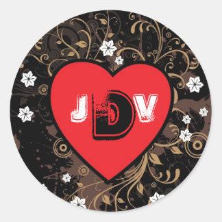 Vintage Look Rock & Roll Music Themed Wedding Round Sticker