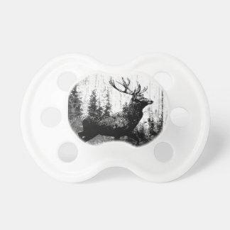 Vintage look Stag in Black and White, Deer Animal Baby Pacifier