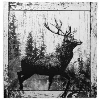 Vintage look Stag in Black and White, Deer Animal Napkin