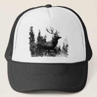 Vintage look Stag in Black and White, Deer Animal Trucker Hat