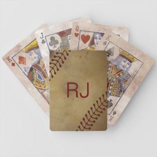 Vintage Looking Baseball with Custom Monogra Bicycle Playing Cards